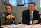 Natalia Korolevskaya and Leonid Kozhara, both Members of the Parliament of Ukraine, speaking at the  DCFTA Round Table